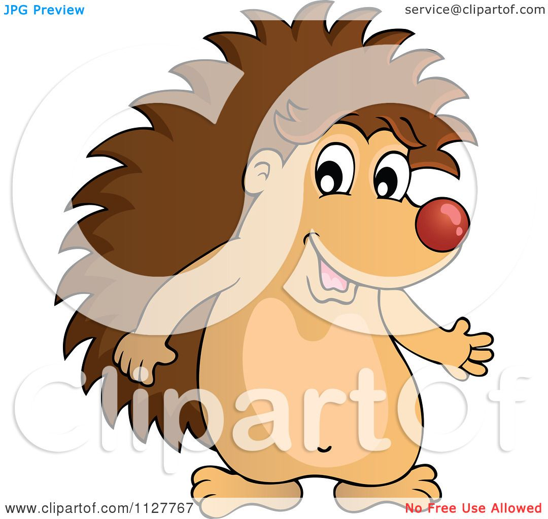 Cartoon Of A Cute Happy Hedgehog