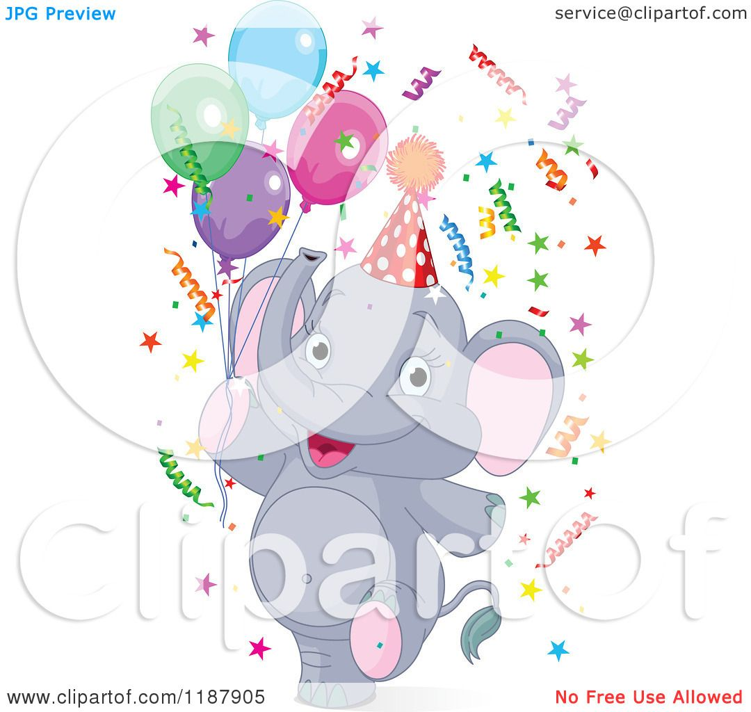 Cartoon Of A Cute Happy Party Elephant Walking Upright