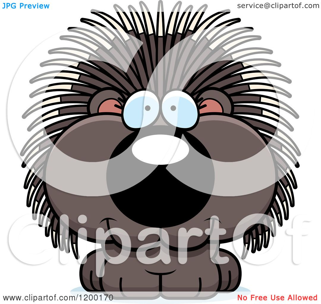 Cartoon of a Cute Happy Porcupine - Royalty Free Vector Clipart by ...