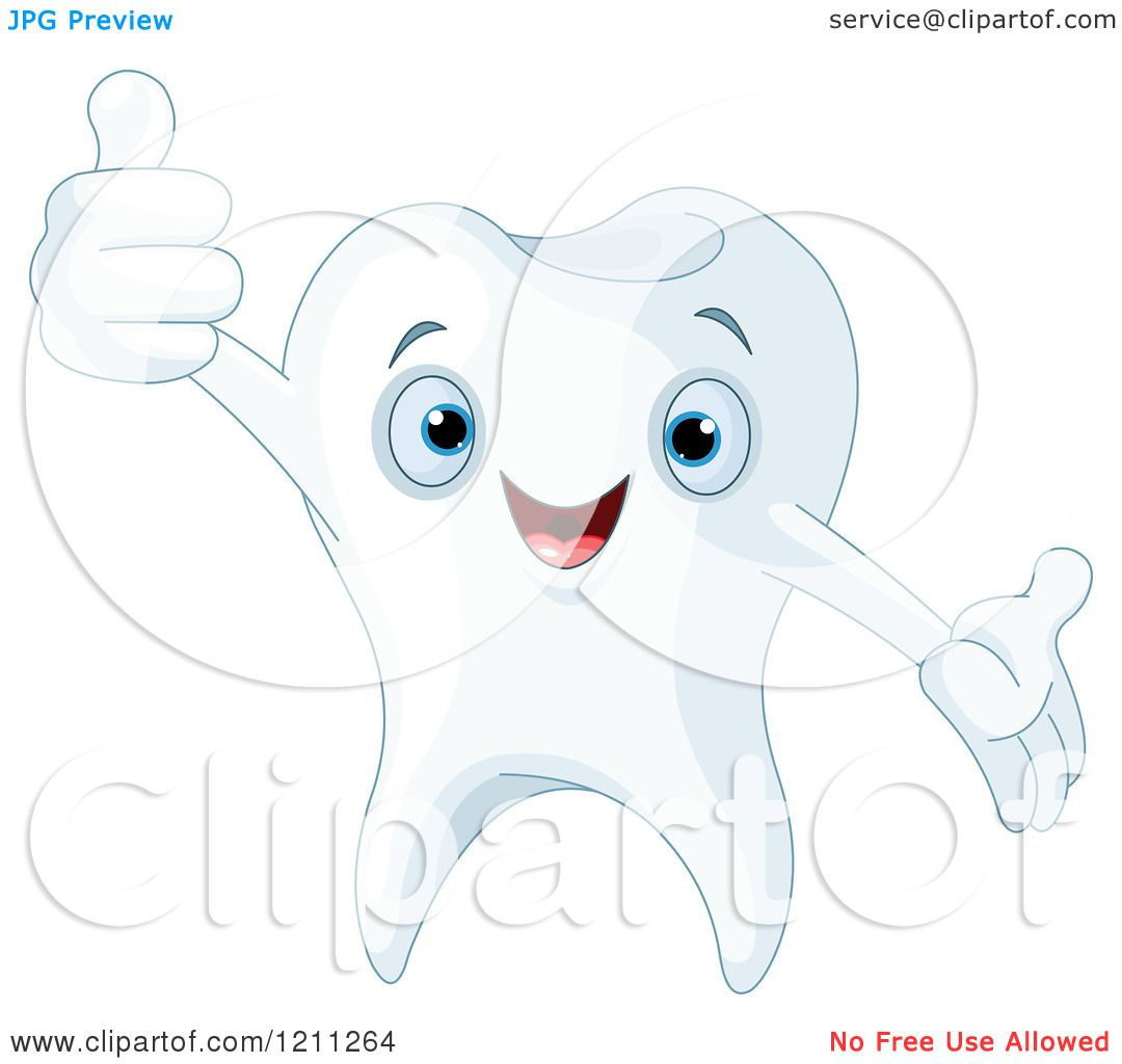 cartoon of a cute happy tooth holding a thumb up royalty