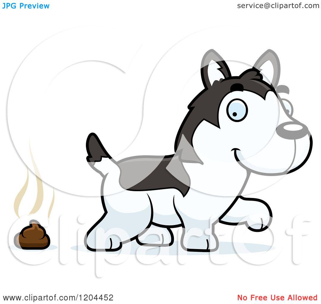 cartoon of a cute husky puppy dog pooping royalty free vector rh clipartof com husky clipart black and white siberian husky clipart