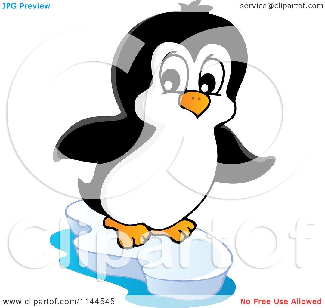Cartoon of a Cute Little Penguin on an Iceberg 1 - Royalty ...
