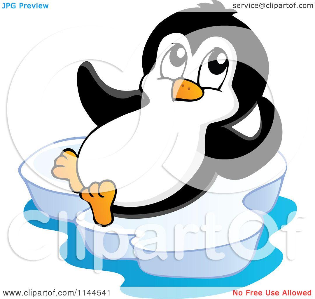 Cartoon of a cute little penguin reclining on an iceberg for Clipart iceberg