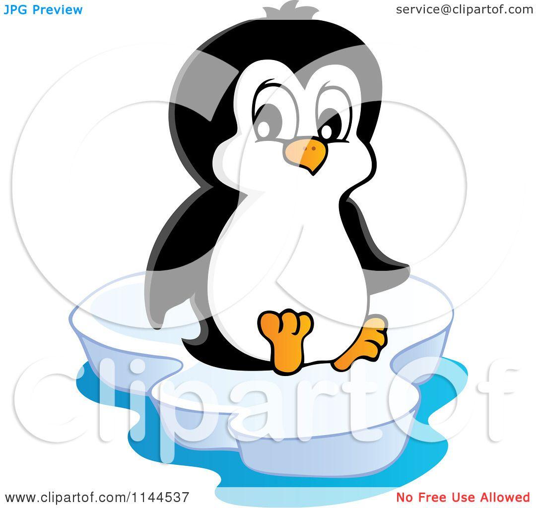 cartoon of a cute little penguin sitting on an iceberg royalty rh clipartof com