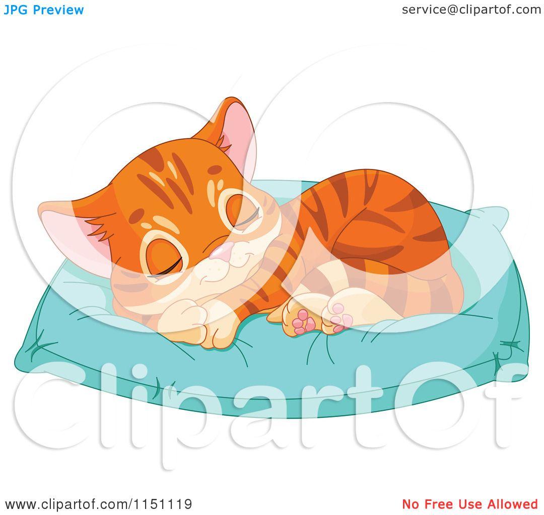 cute pillow clipart. cartoon of a cute orange tabby kitten sleeping on pillow - royalty free vector clipart by pushkin t