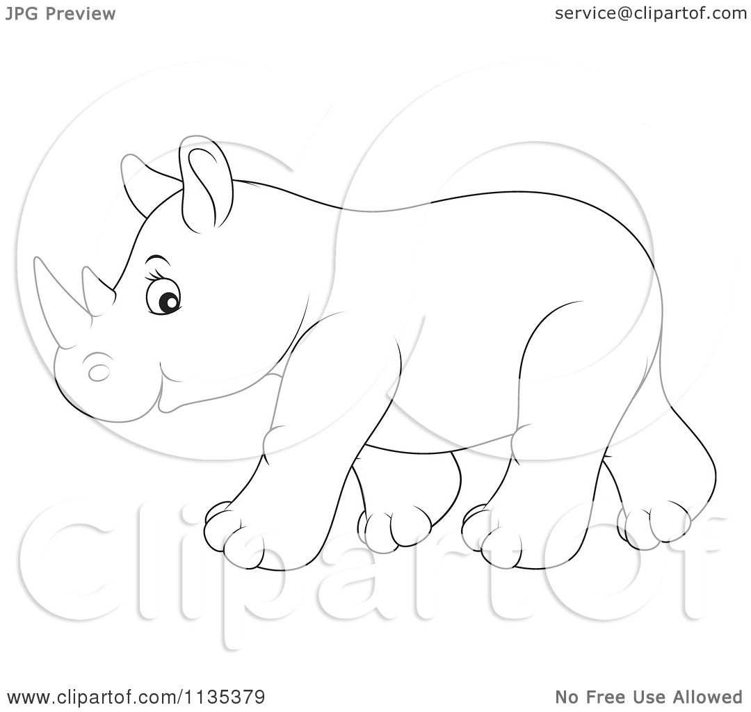 Cartoon Of A Cute Outlined Baby Rhino Royalty Free