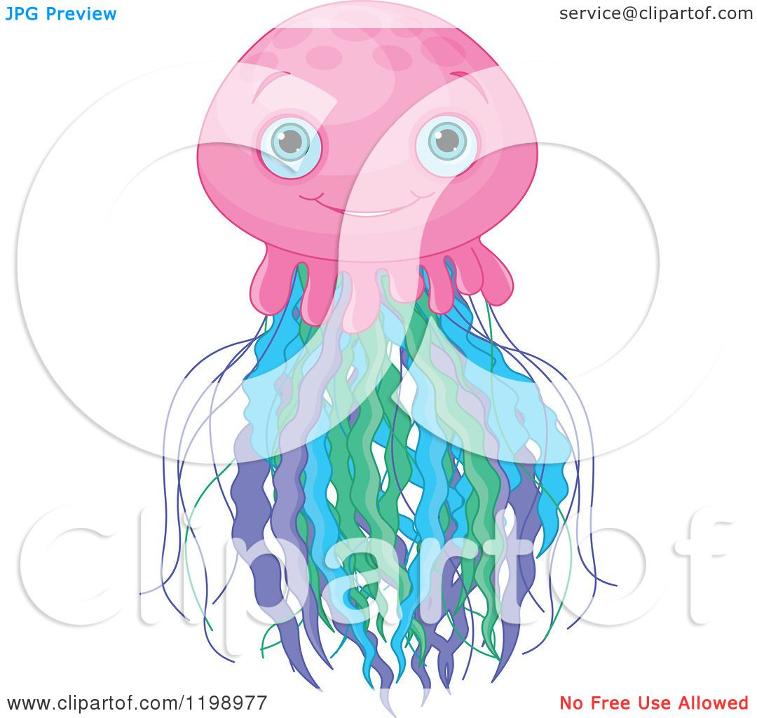 Cartoon of a Cute Pink Jellyfish with Colorful Tentatcles ...