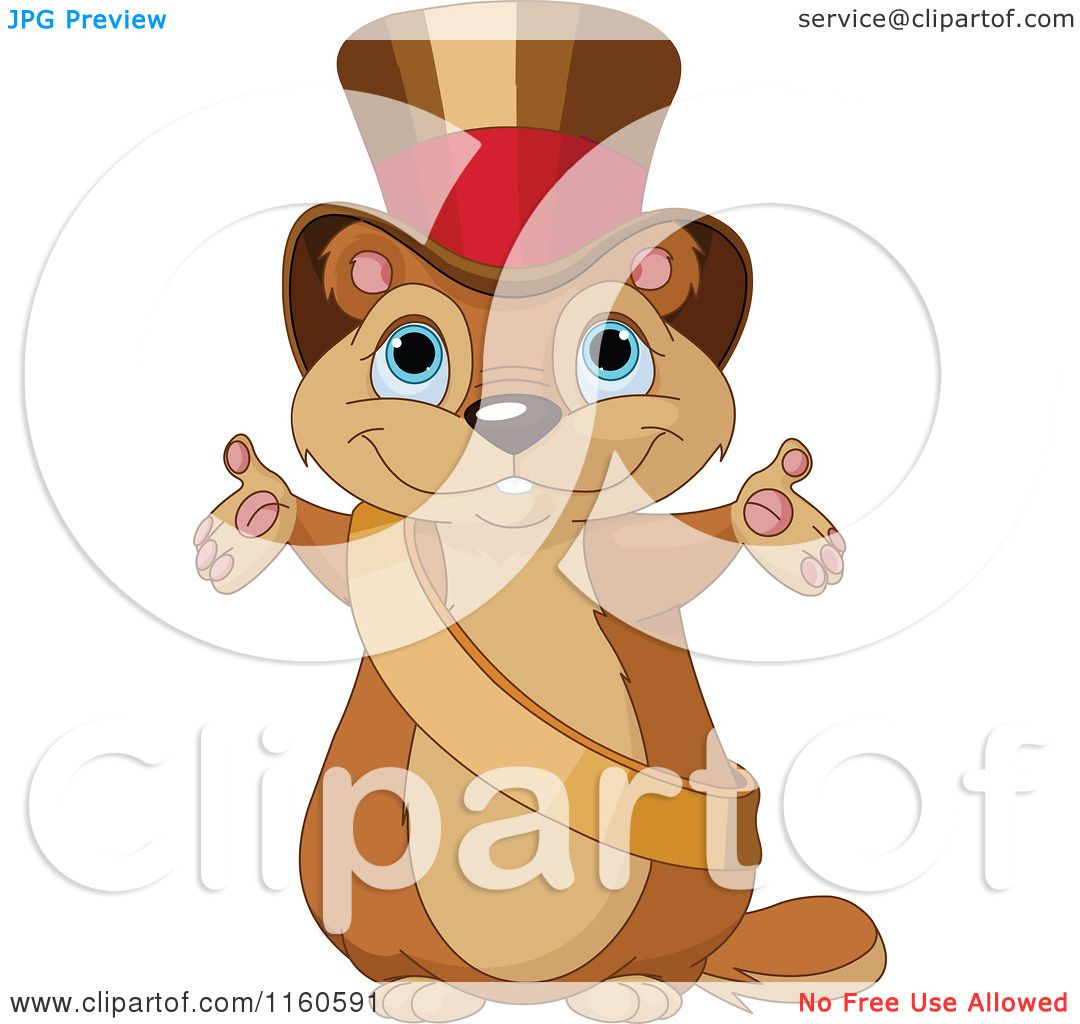 cartoon of a cute presenting groundhog wearing a sash and top hat