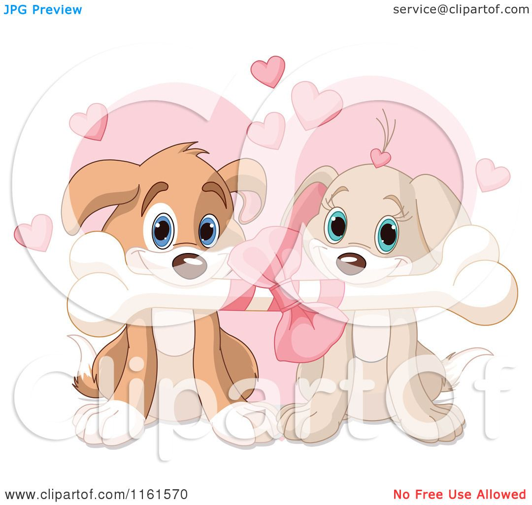 Cartoon of a Cute Puppy Couple Sharing a Valentines Day