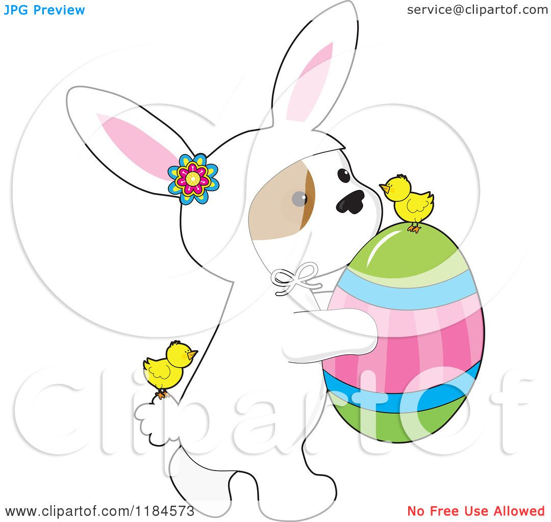 Cartoon of a cute puppy wearing a bunny costume and carrying an easter