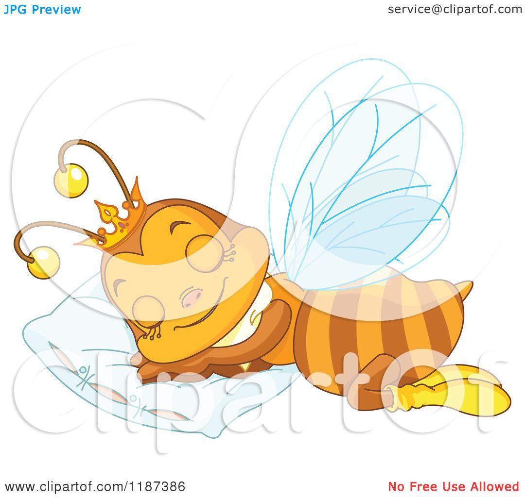 Cartoon of a Cute Queen Bee Sleeping on a Pillow - Royalty ...