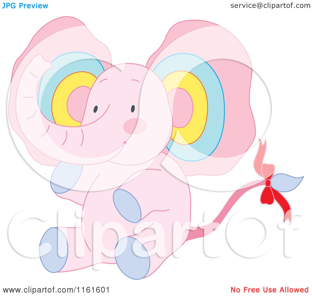 Cartoon of a Cute Sitting Pink Elephant with Colorful Ears ...