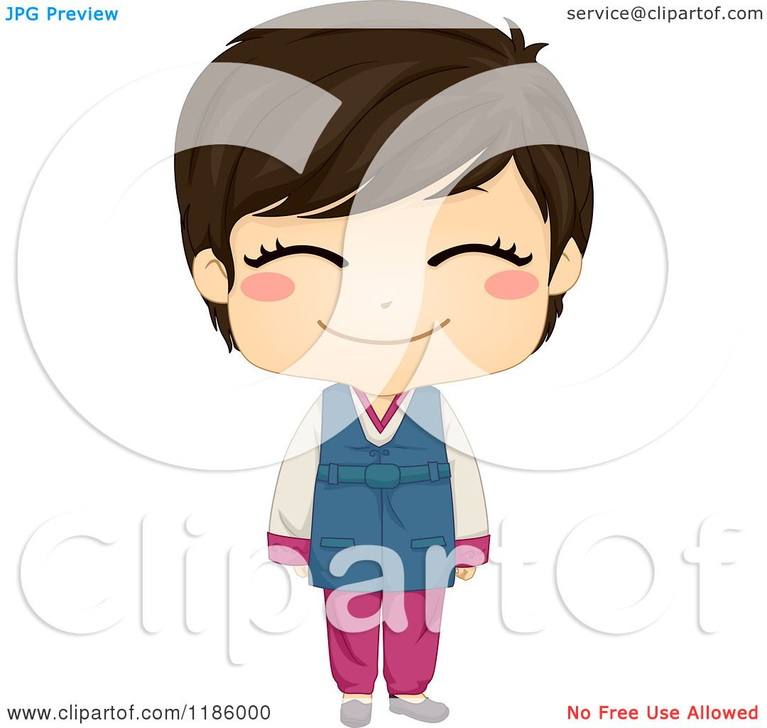 Cartoon Of A Cute Smiling Korean Boy Wearing Traditional