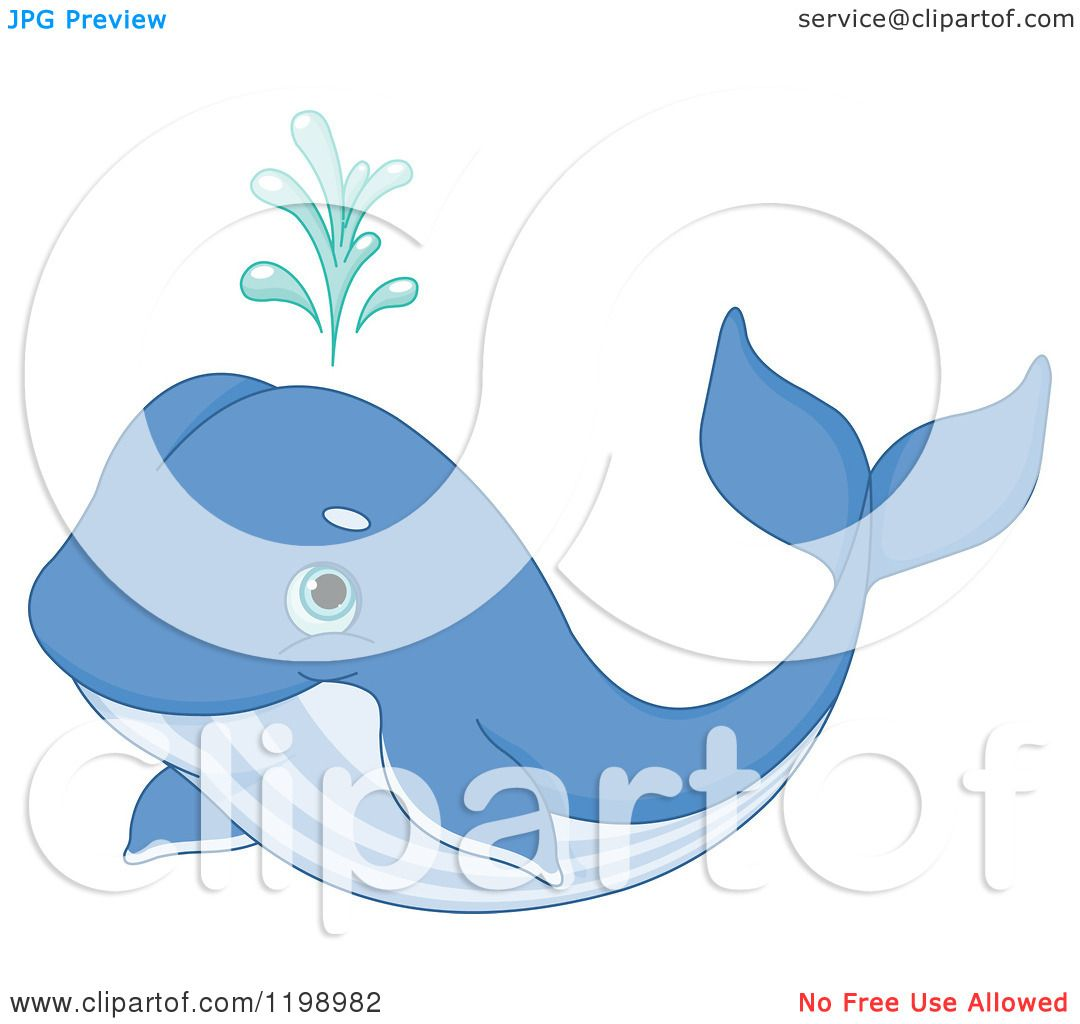 Cartoon of a Cute Spouting Blue Whale - Royalty Free Vector Clipart ...