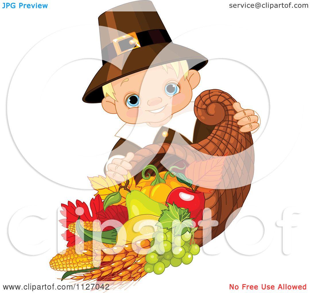Cartoon Of A Cute Thanksgiving Pilgrim Boy With A Horn Of
