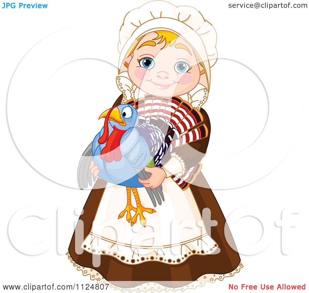 cartoon of a cute thanksgiving pilgrim woman holding a turkey bird