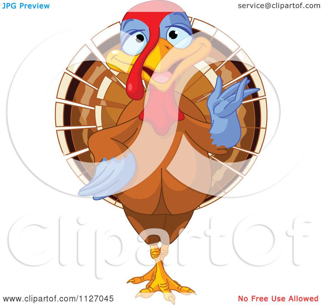cartoon of a cute thanksgiving turkey bird presenting royalty