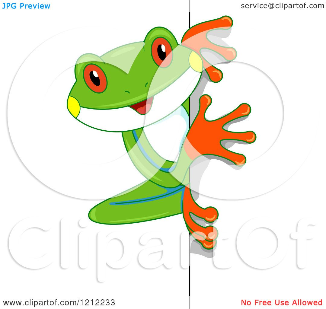 Cartoon of a Cute Tree Frog Looking Around a Corner - Royalty Free ...