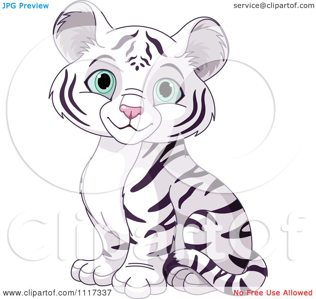 Cartoon Of A Cute White Tiger Cub Sitting - Royalty Free ...