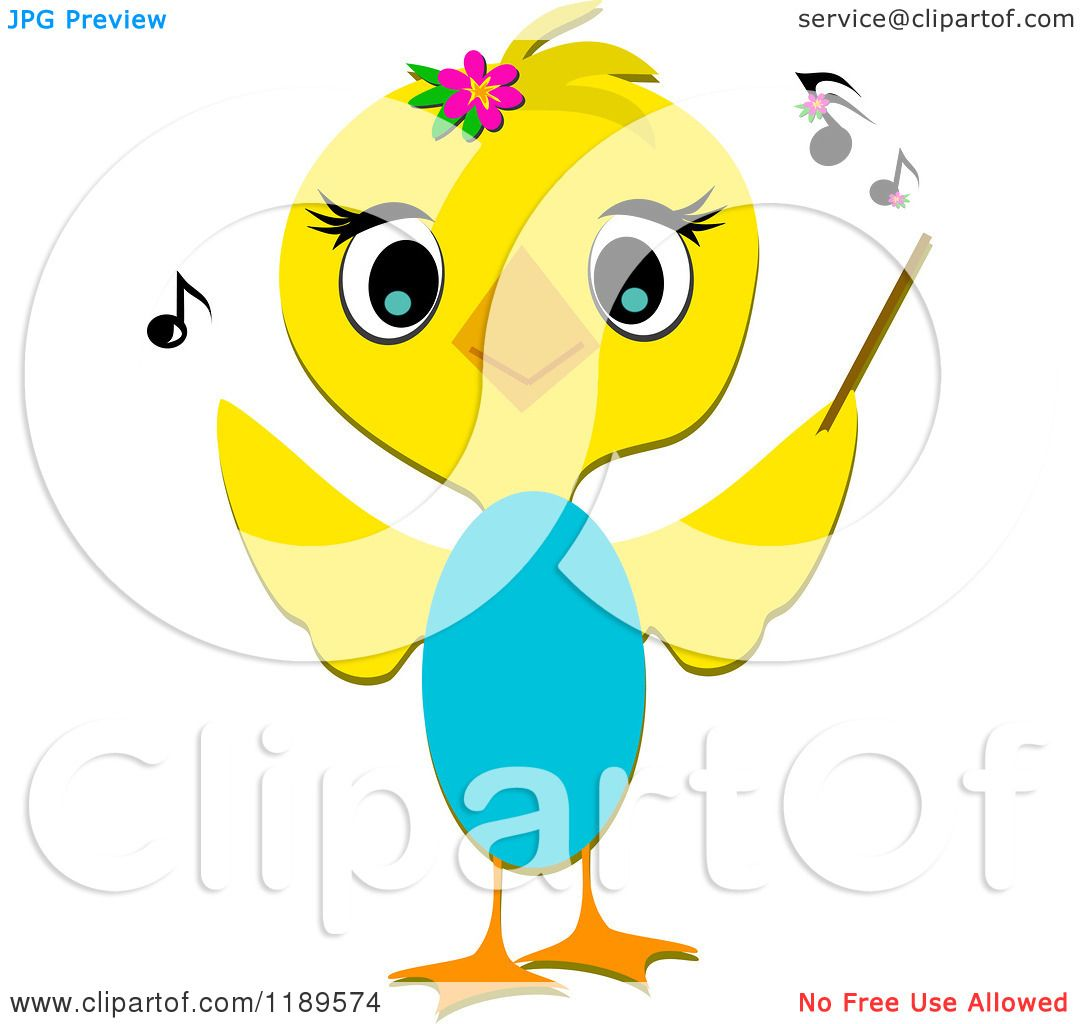 Cartoon of a Cute Yellow Bird Music Conductor - Royalty ...