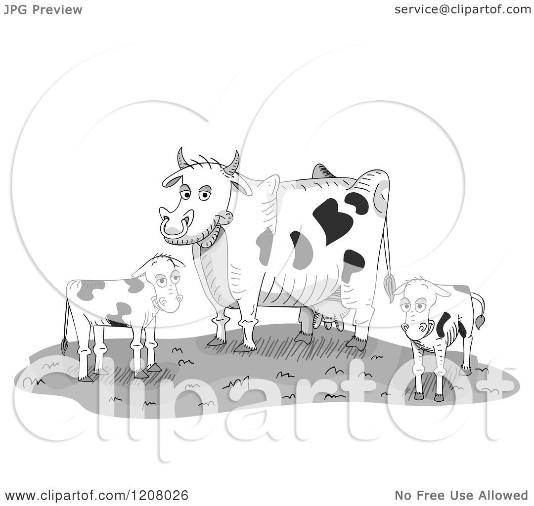 Cartoon Of A Dairy Cow And Two Calves On Farm