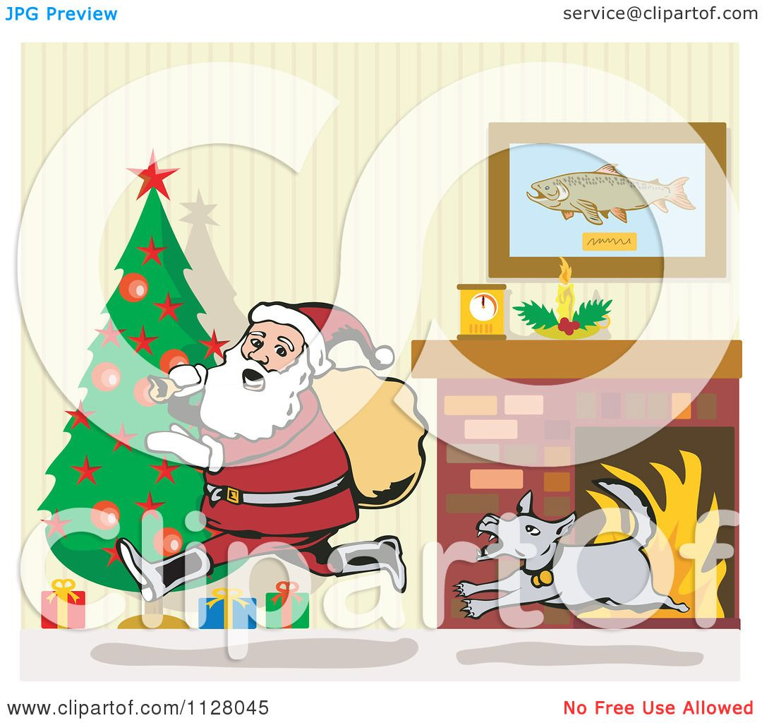 Living Room Clip Art: Cartoon Of A Dog Chasing Santa Through A Living Room On