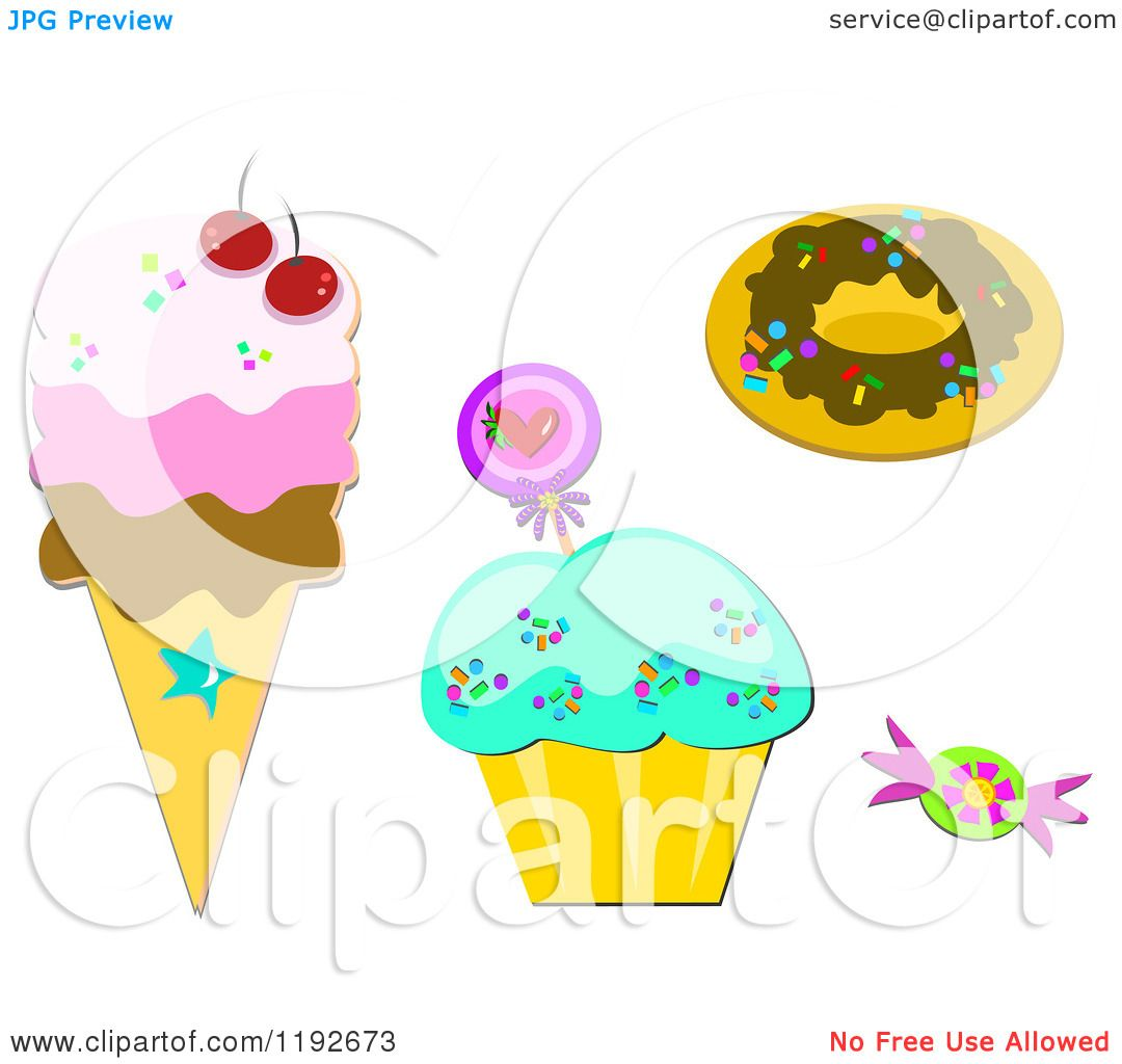Icecream Cone Cupcake Wallpapers Mobile Pics: Cartoon Of A Donut Cupcake Candy And Ice Cream Cone