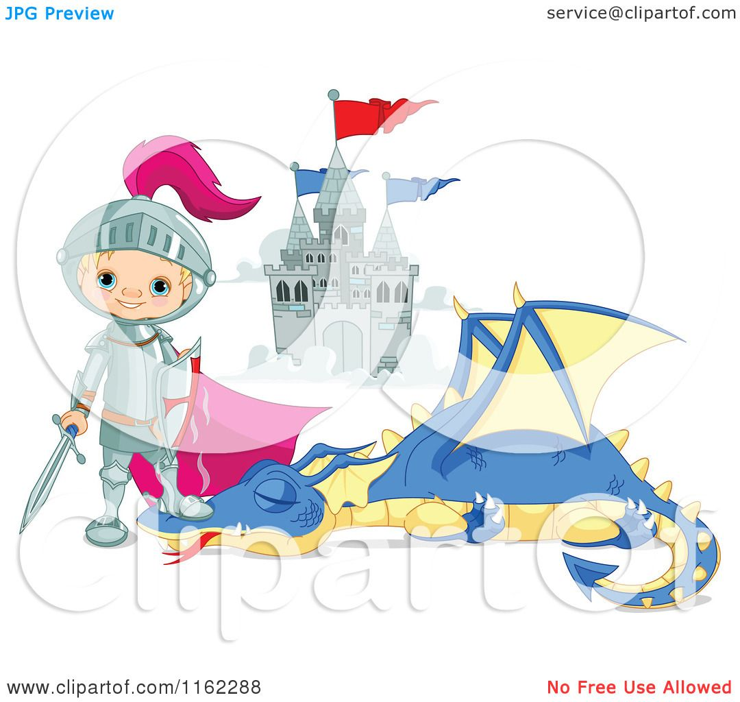 ... Tale Knight Standing over a Slain Dragon - Royalty Free Vector Clipart