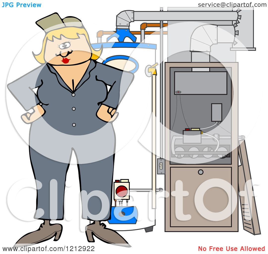 Cartoon of a Female HVAC Worker Standing by a Water Heater and ...