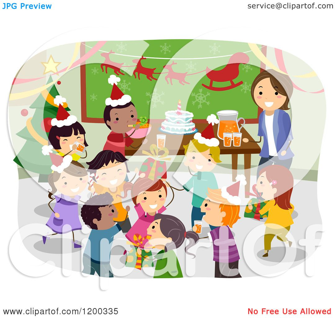 Christmas Children Party: Cartoon Of A Female Teacher And Happy Diverse School