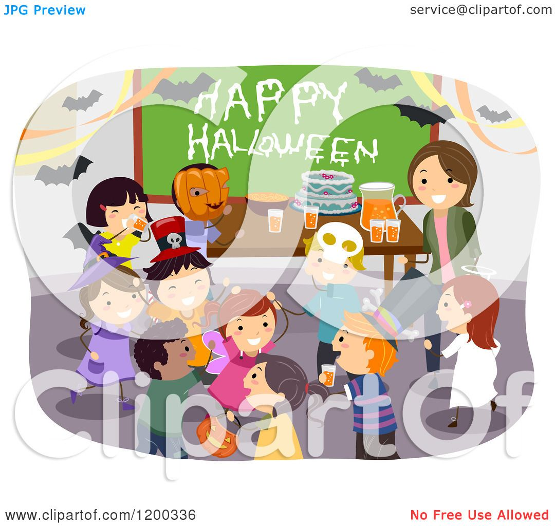 Cartoon of a Female Teacher and Happy Diverse School Children ...