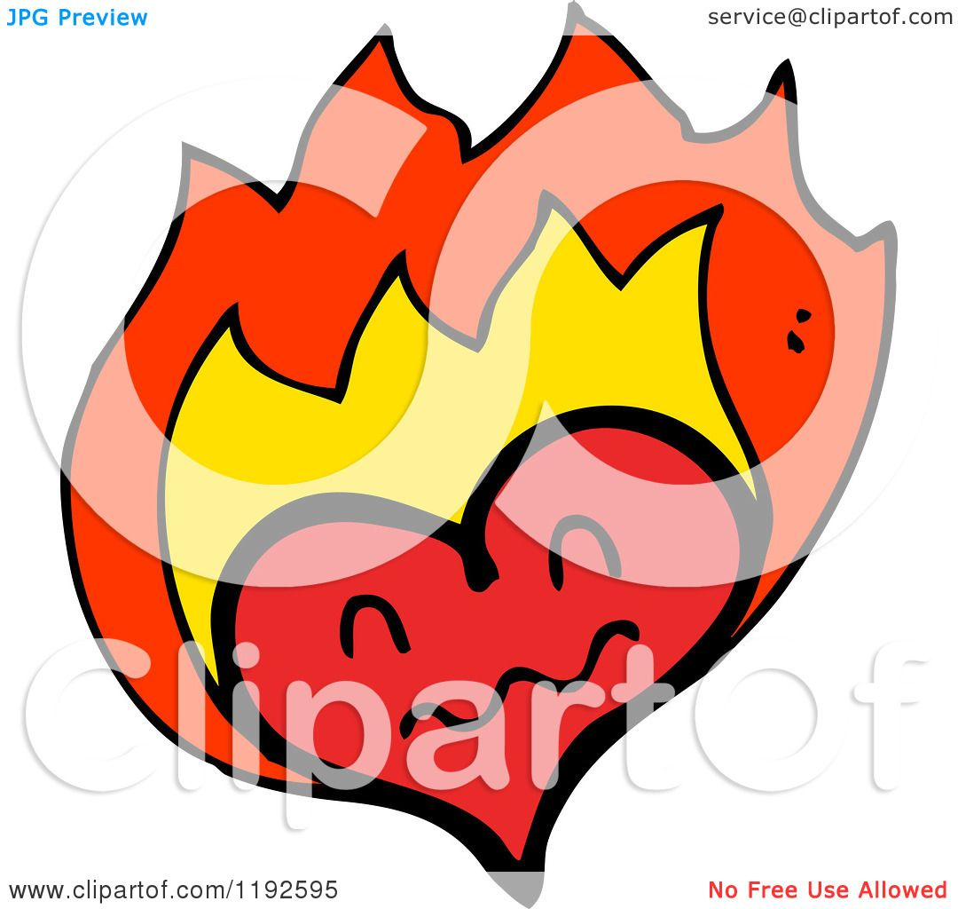 e47c0f29e207 Cartoon of a Flaming Heart - Royalty Free Vector Illustration by  lineartestpilot