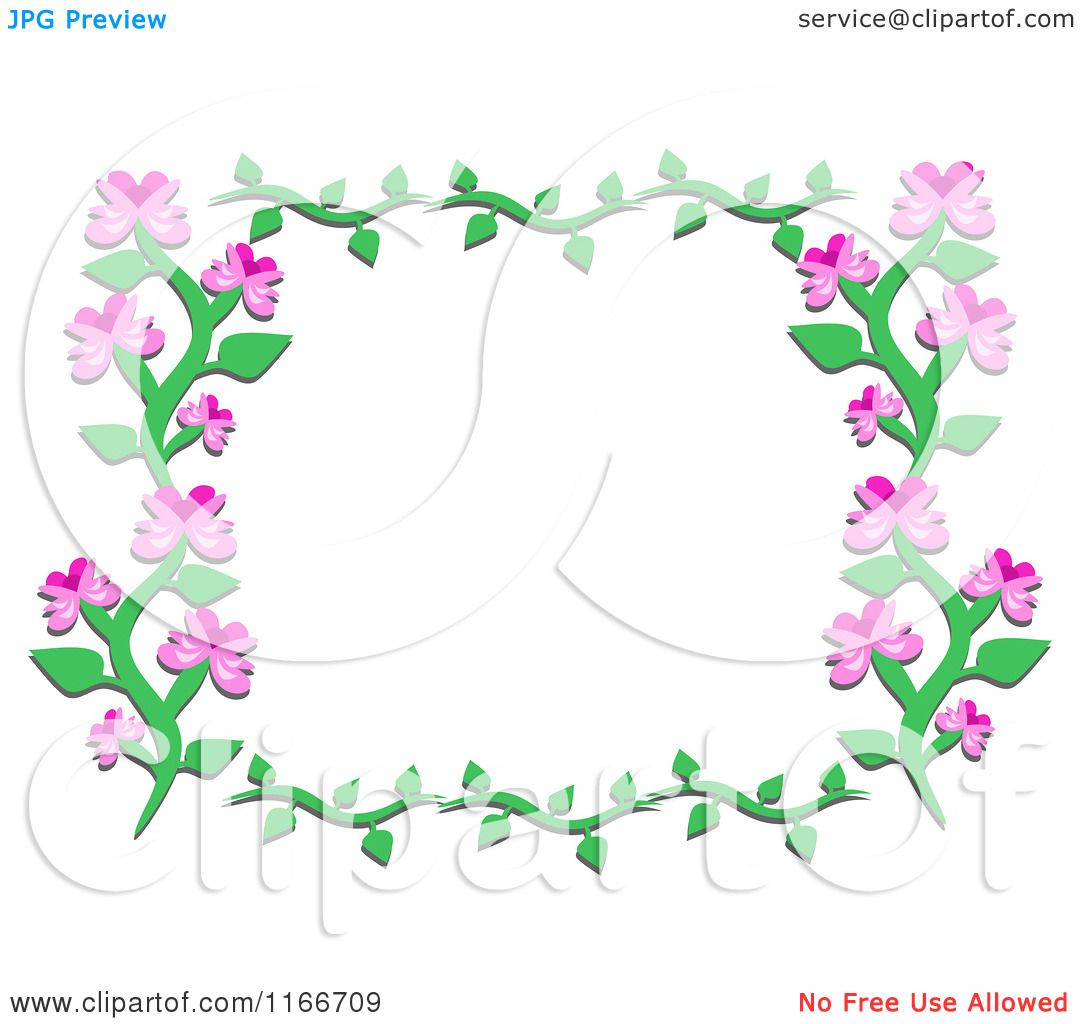 Cartoon Of A Floral Frame Of A Vine With Pink Flowers Royalty Free