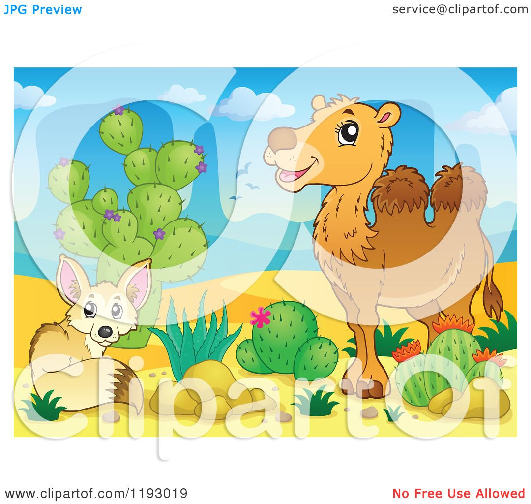 Cartoon of a Fox and Camel by Cactus Plants in a Desert ...