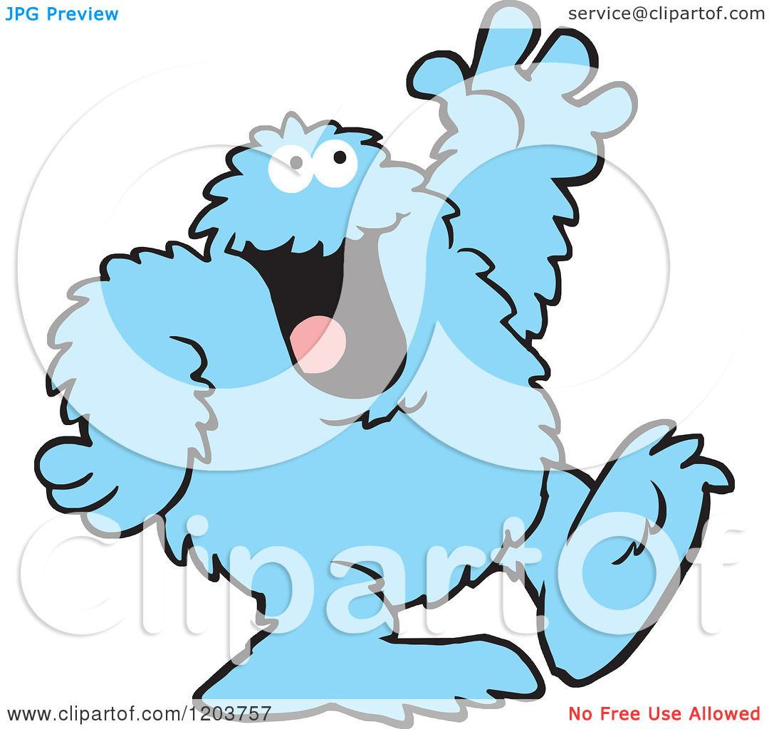 Cartoon of a Friendly Blue Bigfoot Monster Waving - Royalty Free ...