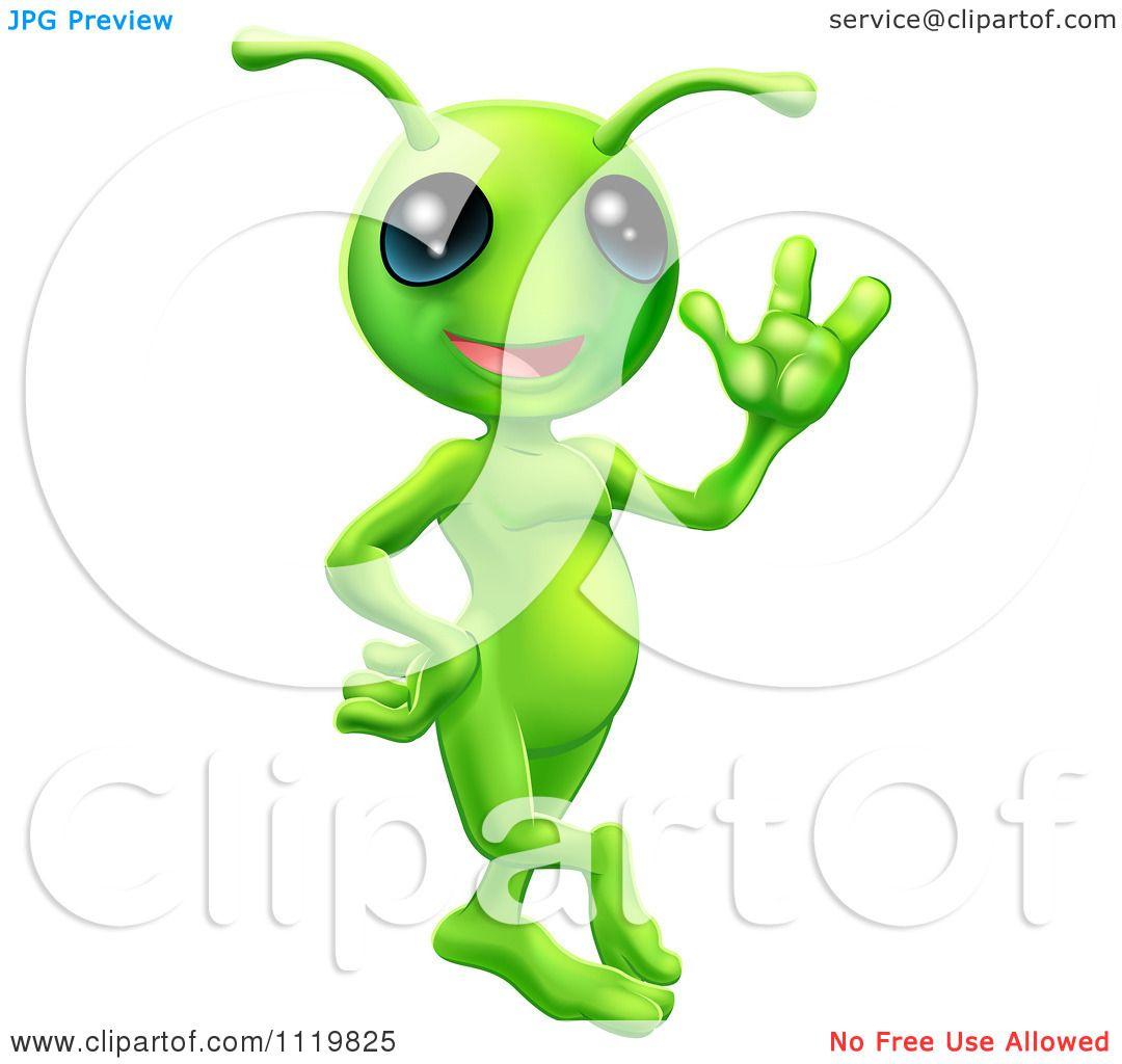 Cartoon Of A Friendly Green Alien Waving Hello Royalty