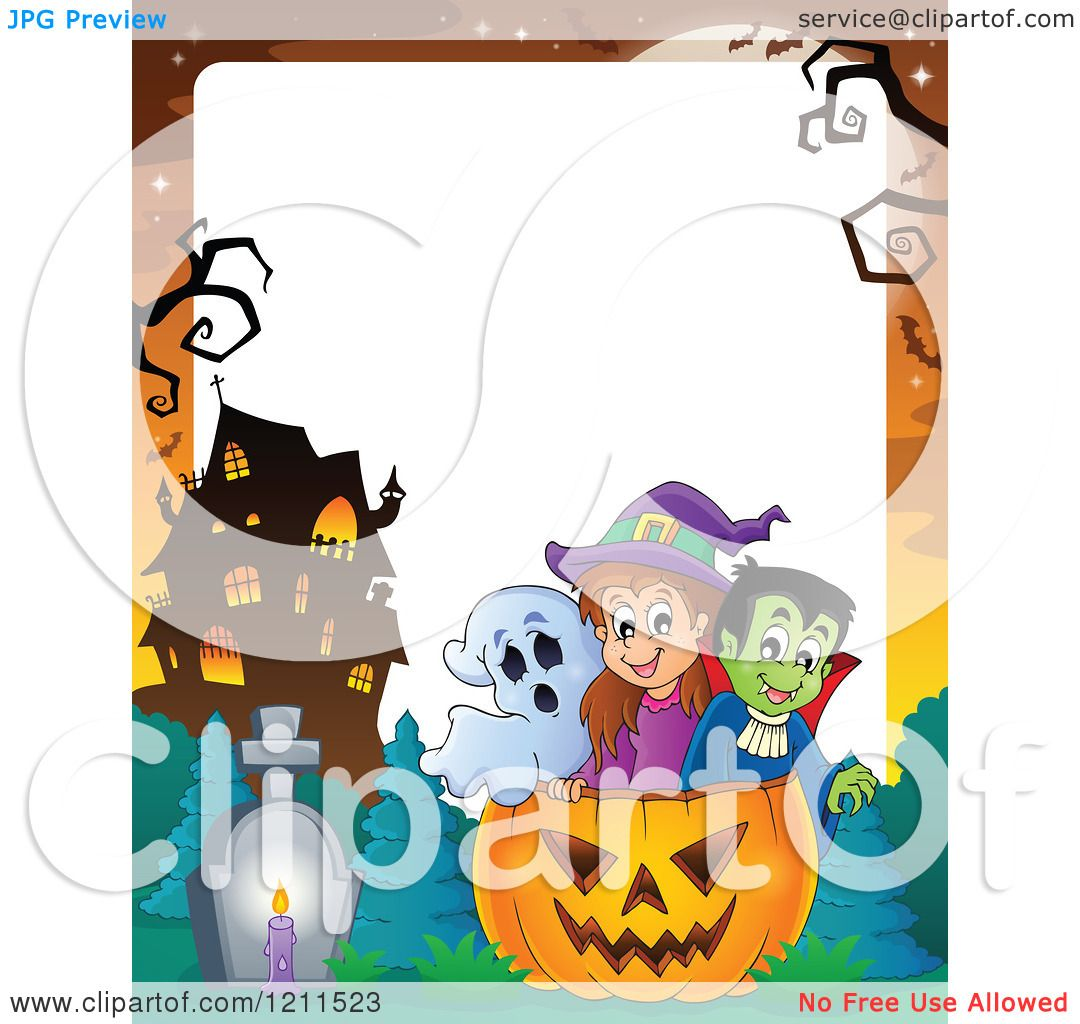 Cartoon Of A Ghost Witch And Vampire In A Halloween