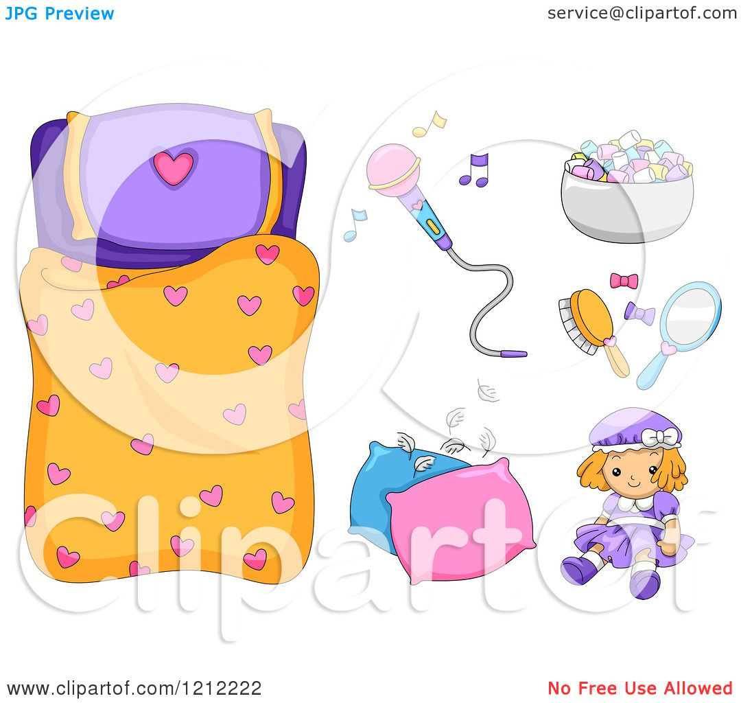Cartoon Of A Girls Heart Sleeping Bag And Slumber Party