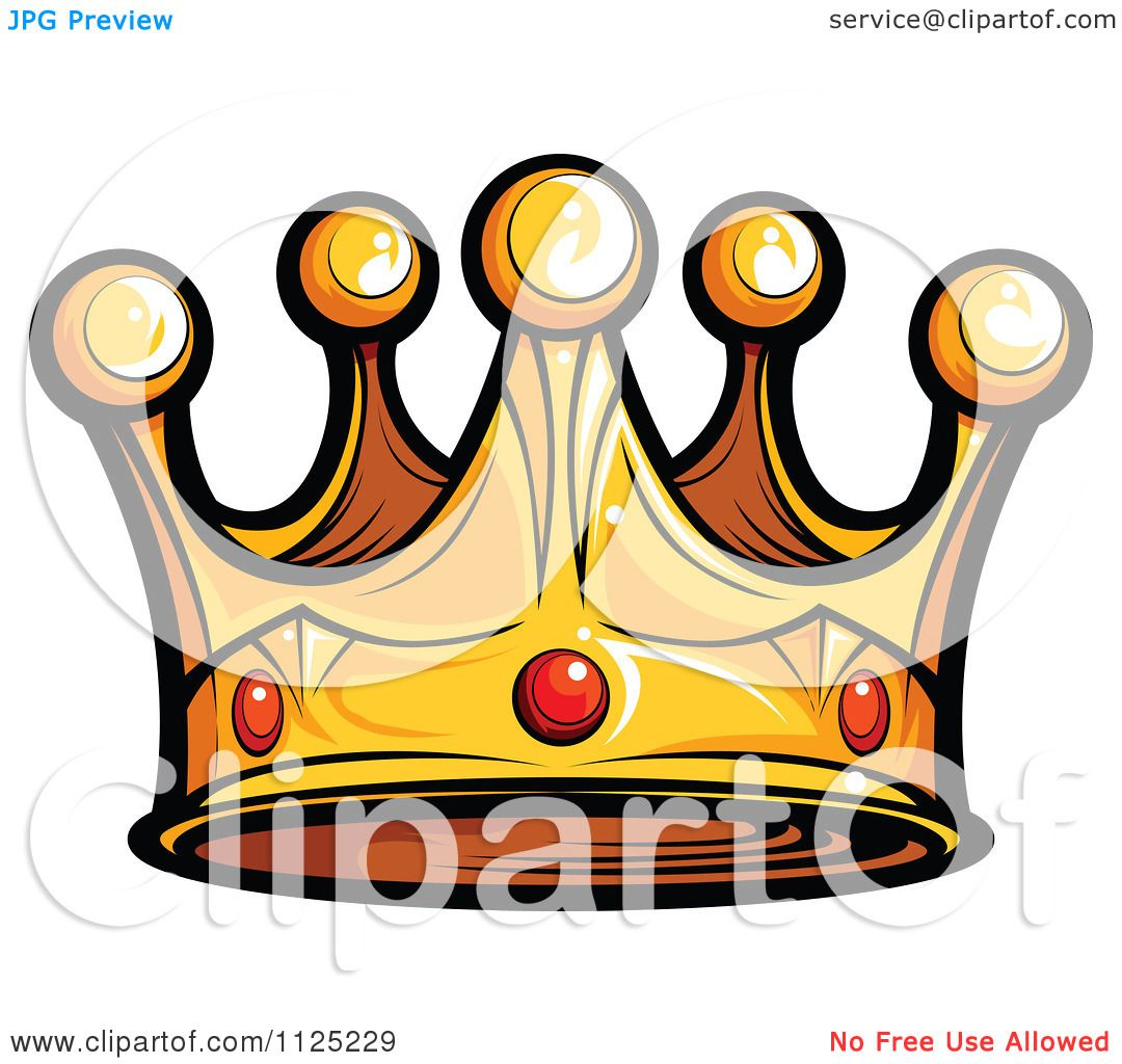 Cartoon Of A Golden King Crown With Ruby Gems Royalty Free Vector