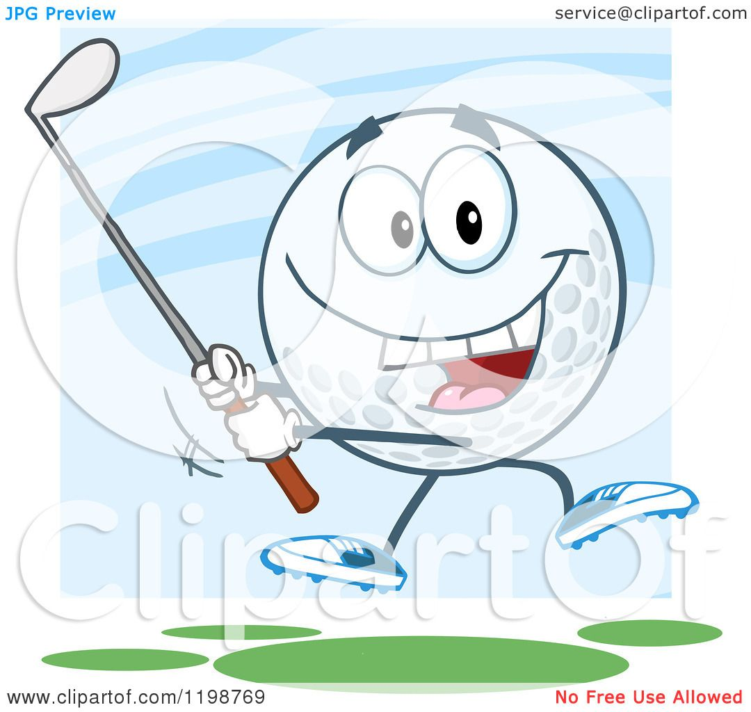 Cartoon Of A Golf Ball Character Swinging A Club Over Blue And Green Royalty Free Vector Clipart By Hit Toon 1198769