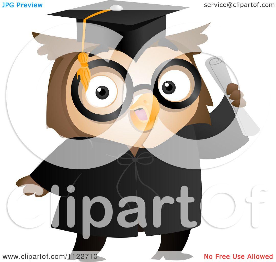 Cartoon Of A Graduate Owl Holding A Diploma - Royalty Free ...