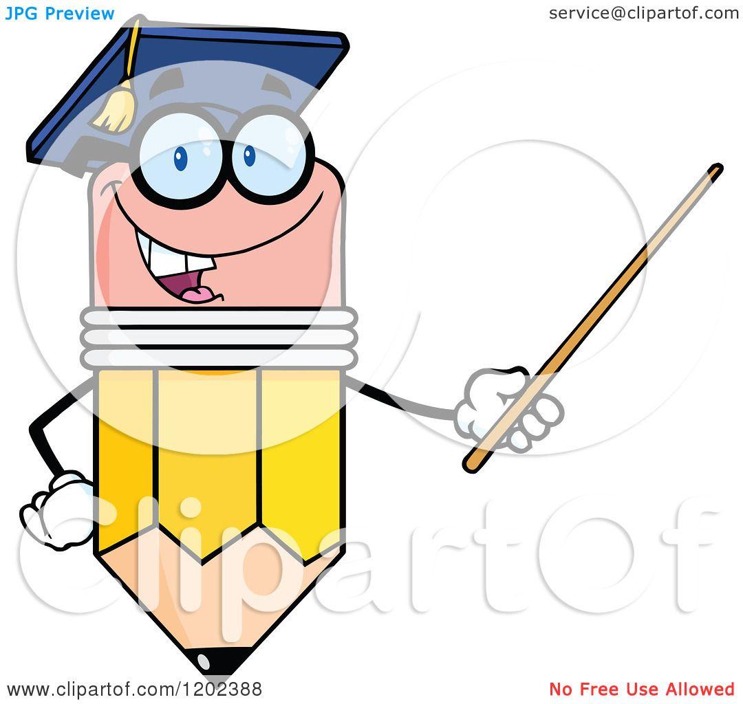 cartoon of a graduate pencil teacher holding a pointer free clip art teachers books free clip art teachers apple