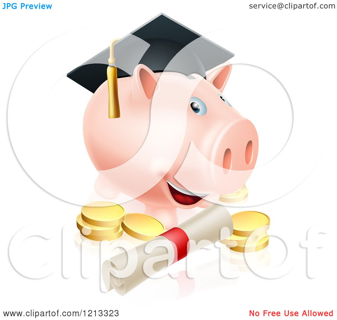 Cartoon Of A Graduate Piggy Bank With A Certificate And