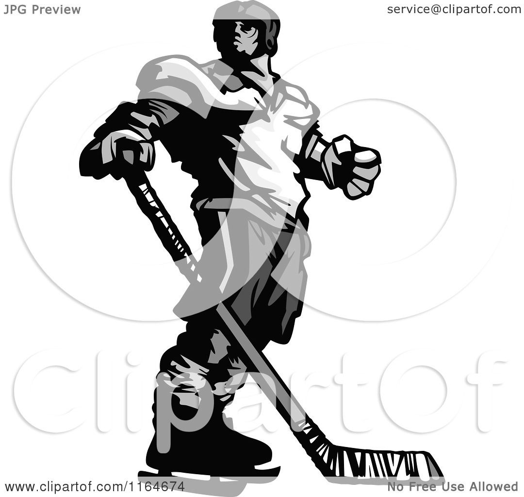 Cartoon Field Hockey Player Cartoon of a grayscale hockey