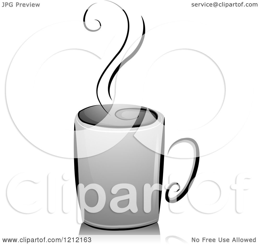 Cartoon of a Grayscale Steaming Cup of Coffee - Royalty ...