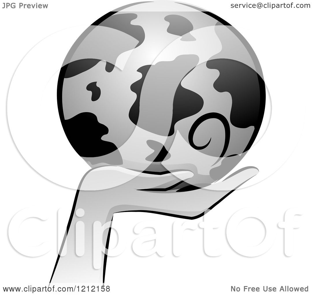 Cartoon of a Grayscale Whimsical Hand Holding Earth