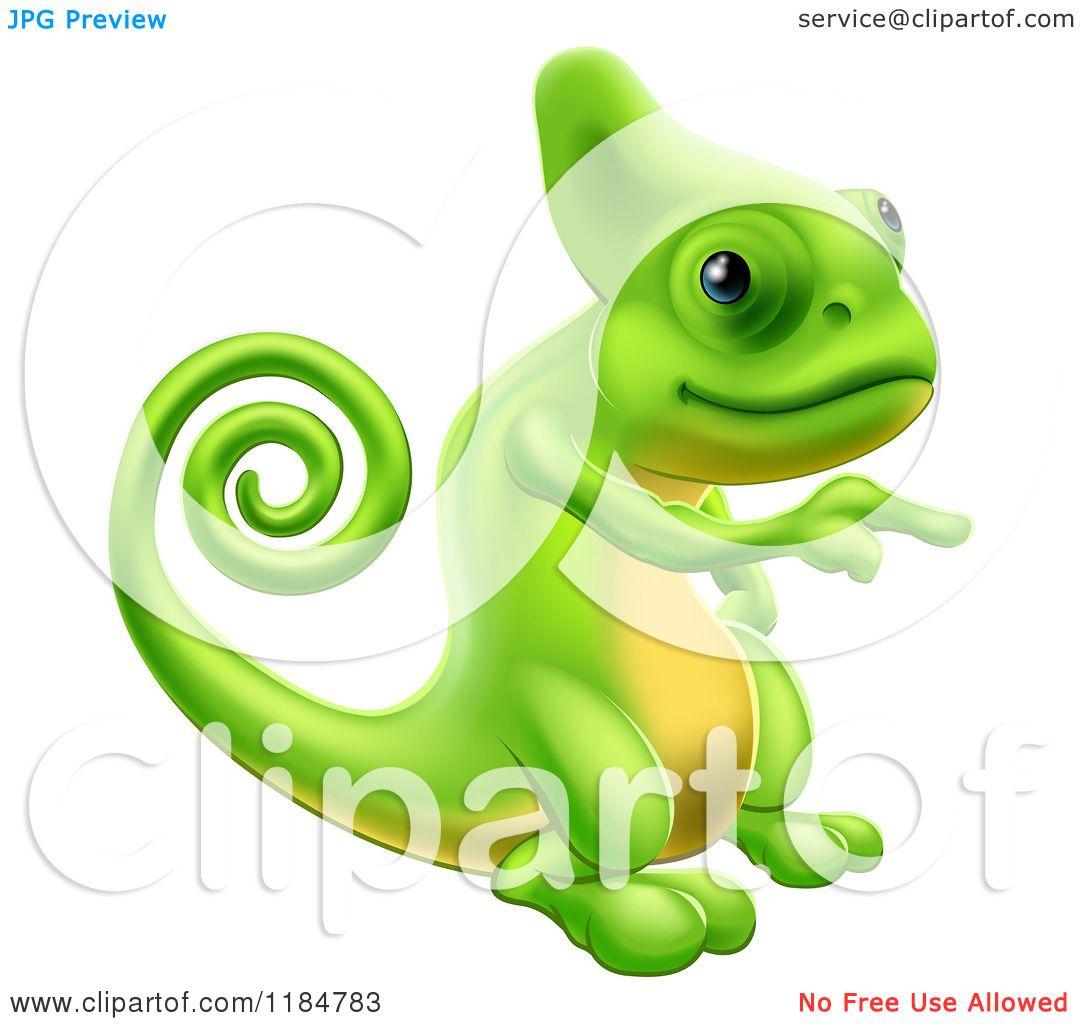 Cartoon of a Green Chameleon Lizard