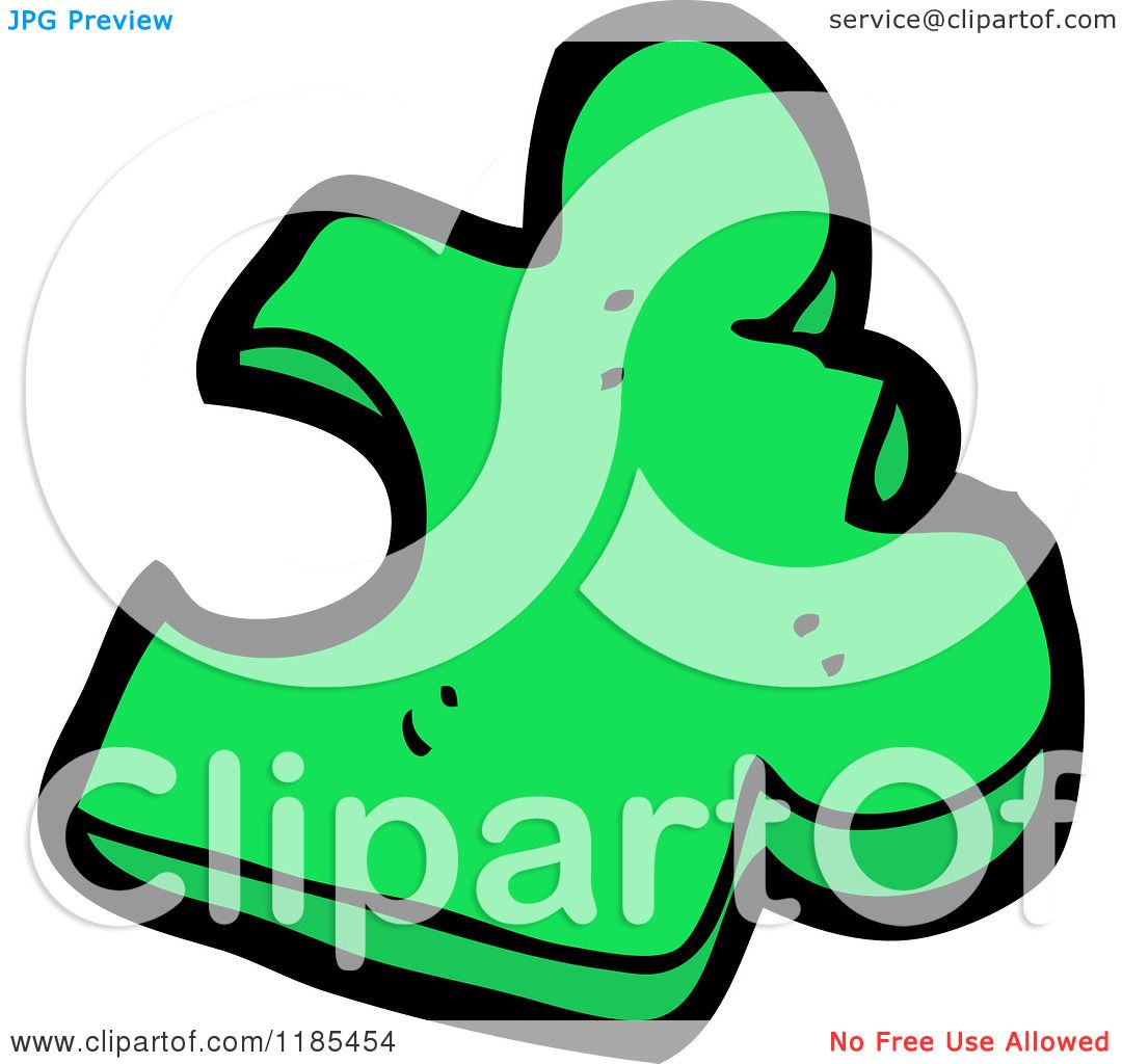 Cartoon Of A Green Puzzle Piece