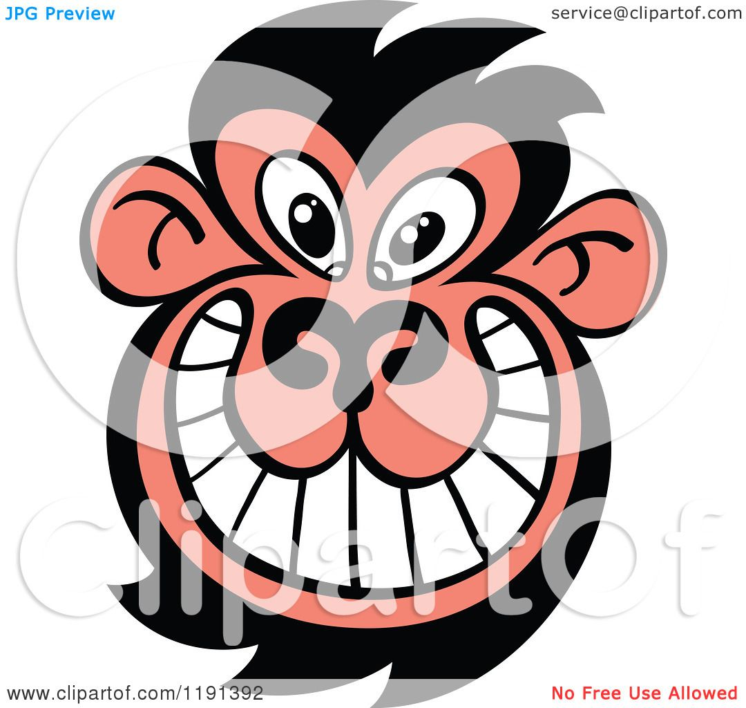 cartoon of a grinning ugly monkey face royalty free vector