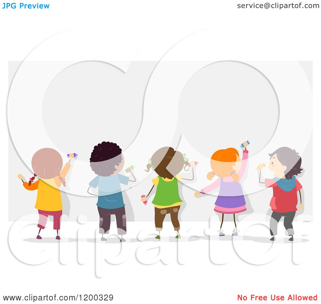 Cartoon of a group of diverse children decorating a mural for Mural vector